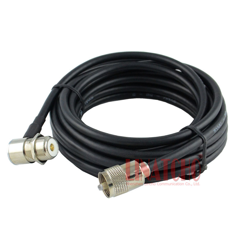 5 meter SYWV-50-5 PL259 male naar haakse SO239 FT-1807 TM-271 auto antenne kabel man-vrouw