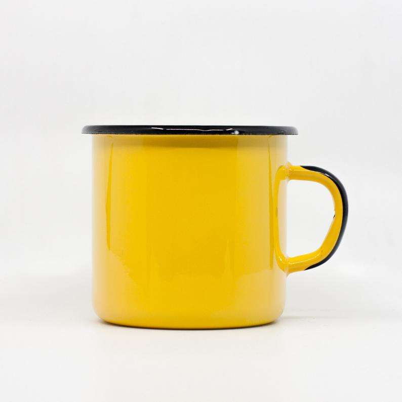 450ml SGS certified yellow color enamel cast iron tea steel measuring cup with decal logo