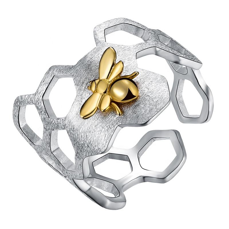 Lotus Fun Wholesale designer Value Pure 925 sterling silver ring Honeycomb Gold Bee Open ring for women custom handmade Jewelry