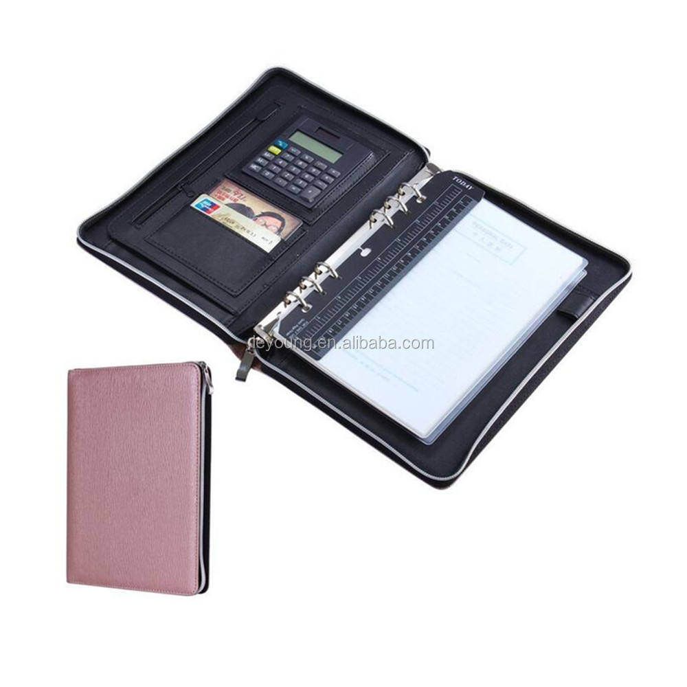 A5 Size Leather Zipper Business Portfolio Folder with Ring Binder