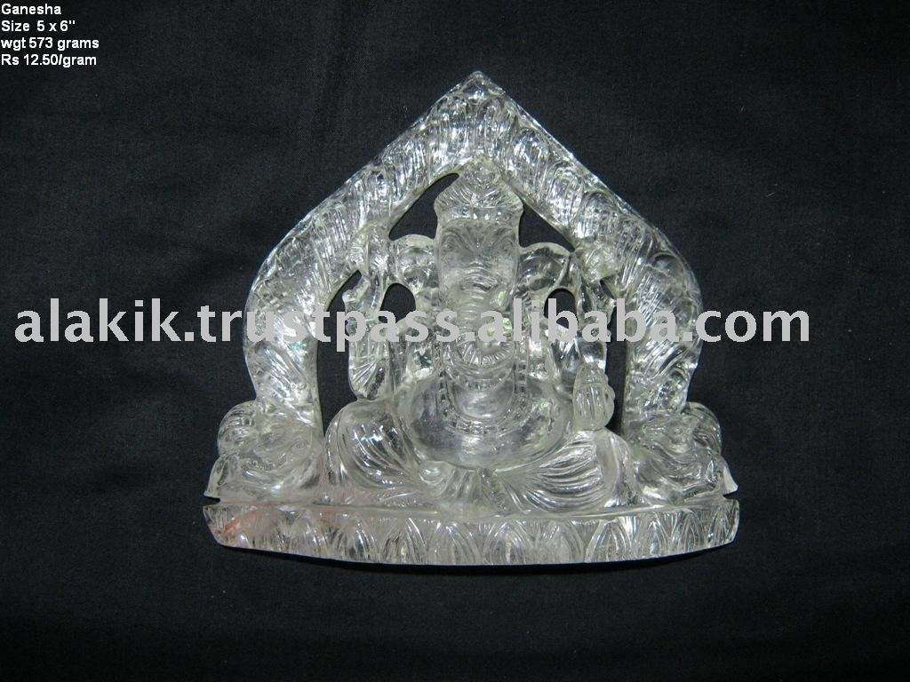 Crystal Quartz Ganesha Idol