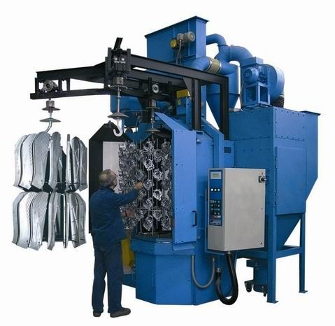 Latest technology hanger type shot blasting machine/reducer shell surface descaling equipment