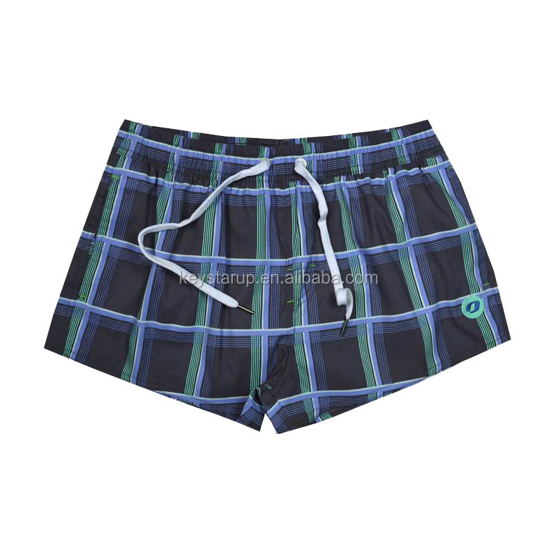<span class=keywords><strong>Frauen</strong></span> Schwarz Plaid Schnelle Dry Board Badehose Shorts