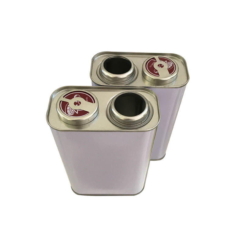1L square tin container can with plastic cap for glue/engine oil/solvent/paint