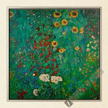 Bauerngarten mit Sonnenblumen, 100% Handmade Morden Oil Painting Canvas Reproduction of Gustav Klimt