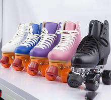 Colorful Genuine leather PU wheels durable quad roller skates professional for rental rink