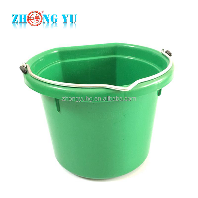 8 Quarts Plastic Flat Back Feed Bucket for Sale, Calf and Horse Feeder