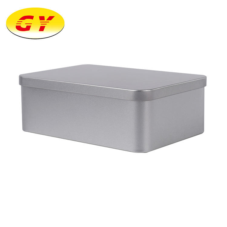 Silver color metal tea packaging tin box in stock