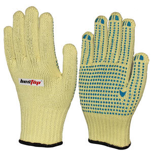 Seeway Cut Resistant Level 4 Aramid Knitted Hand Gloves With Blue PVC Grip Dots