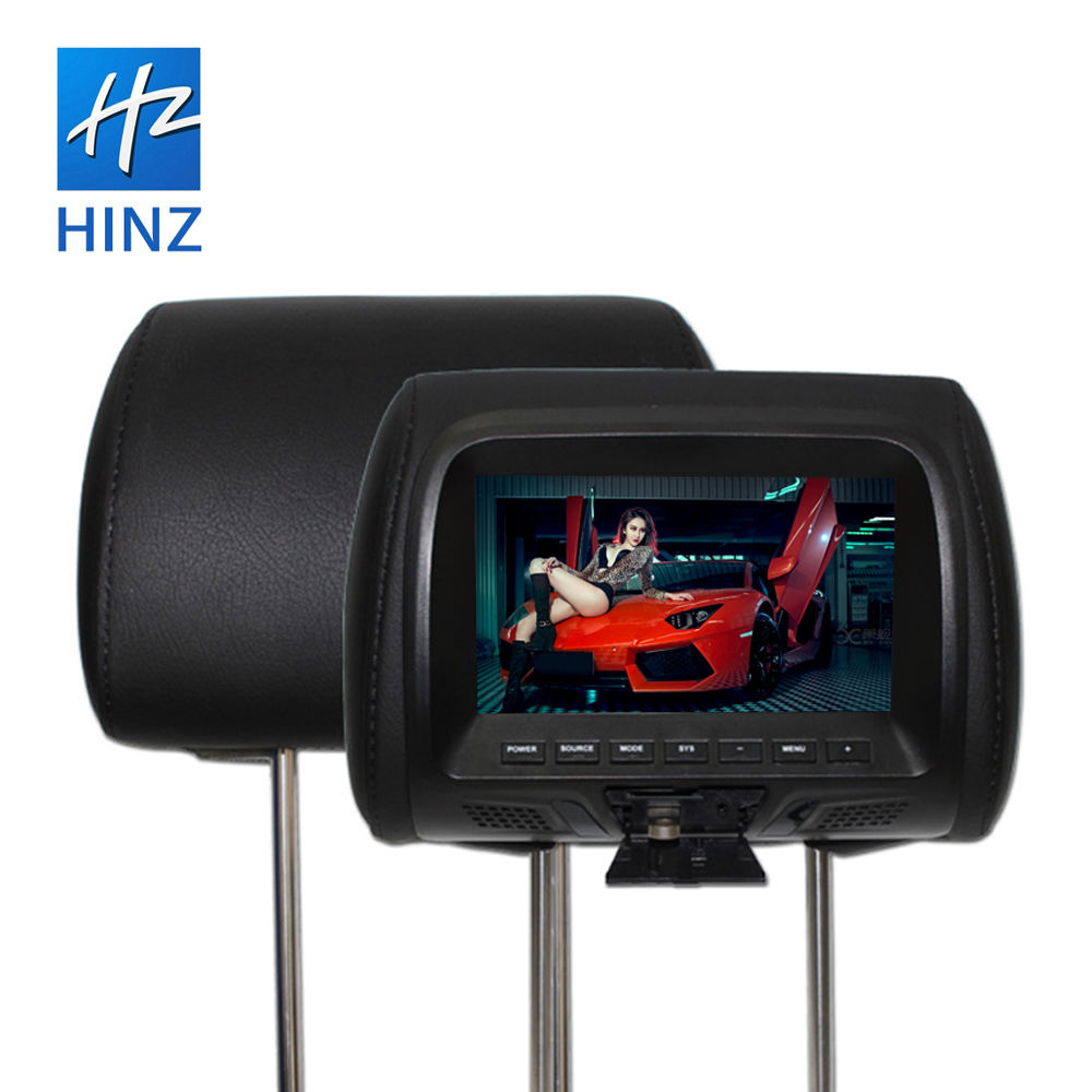 Factory wholesales HD 7 inch lcd screen 800*480 car MP5/AV headrest monitor with USB SD video input