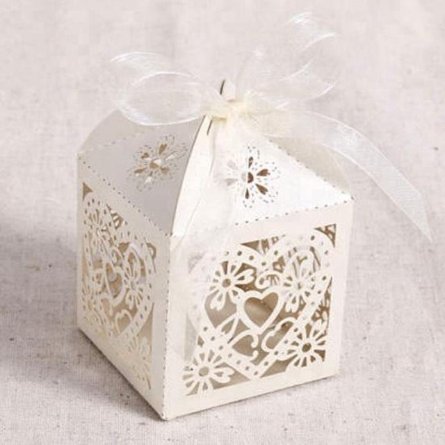 romantic bow wedding decoration sweet paper box and candy box