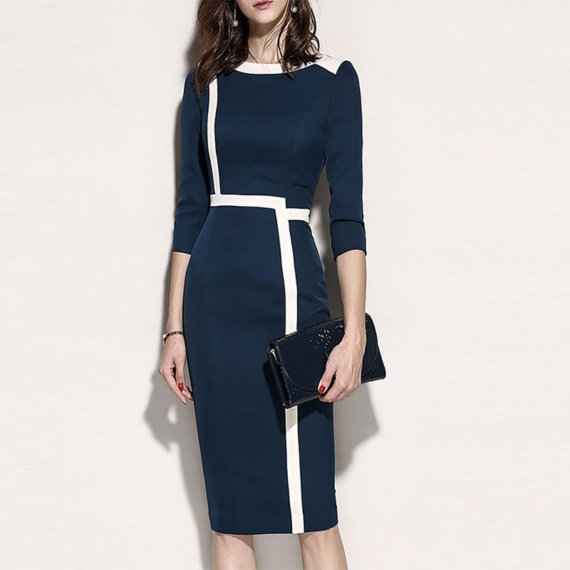 2019 autumn women apparel elegant stretch midi dress for office ladies wears