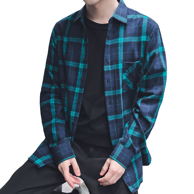 In stock service flannel men shirt with multiple colors plaid leisure shirt