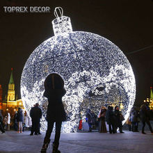 Outdoor lights decorative high simulation motif giant Christmas led light up ball