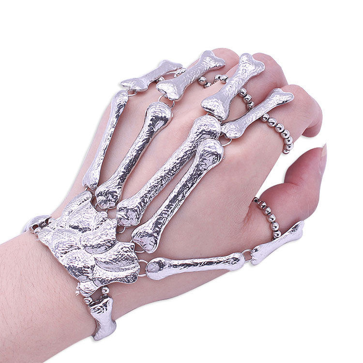 Wholesale Halloween Exaggerated Elasticity Bone Hand Ring Bracelet Nightclub Latest Trend Punk Bracelet
