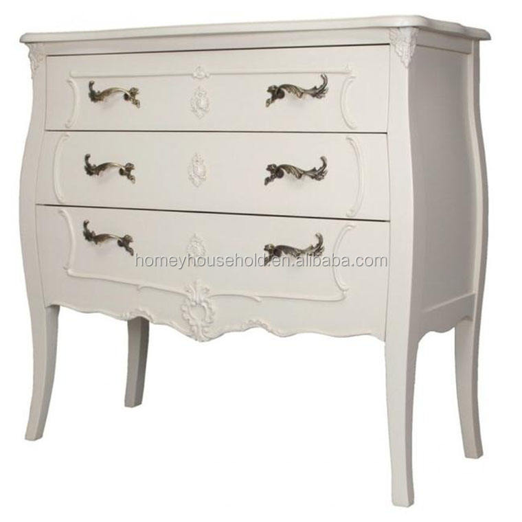 French Rococo Antique White Black Chest of 3 Drawers Ivory Solid Mahogany NEW