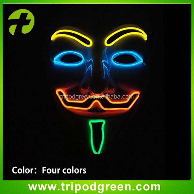 4 Colors El Wire Rave LED Mask, Light up Guy Fawkes, Anonymous, V for Vendetta Mask