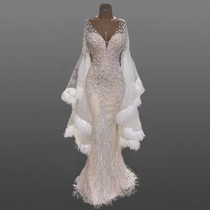 Mermaid Beading Wedding Dress Women Luxury Flare Sleeve Bridal Gowns Ostrich Feather Plunging V-neck Sexy Sheath Wedding Dresses