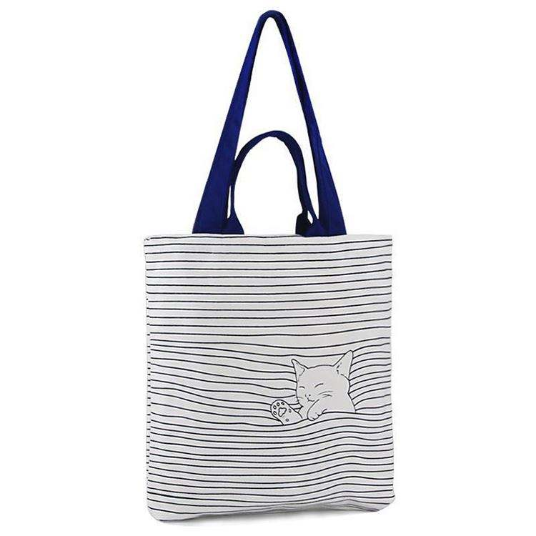 Customized logo printing recyclable cotton canvas shopper bag