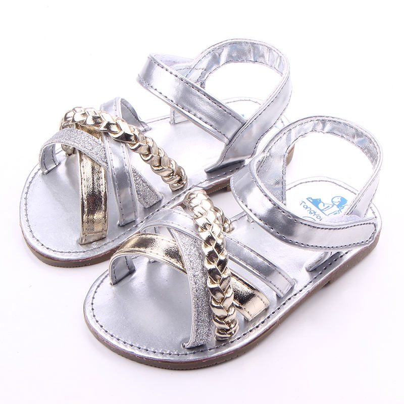 Summer Baby Leather Chain Rubber Sole Baby Girls Silver Gold Sandals