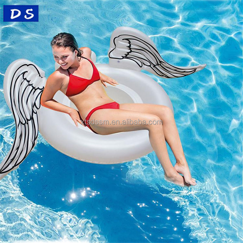 2018 Custom inflatable pvc floating toys wings swimming ring Angel wing pool float