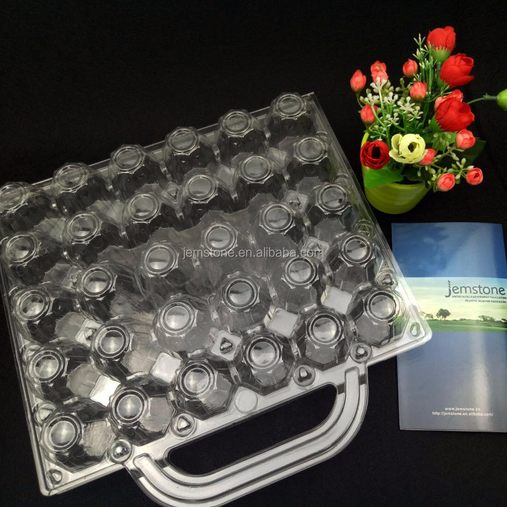 30 holes egg tray PVC material plastic egg packaging for sale