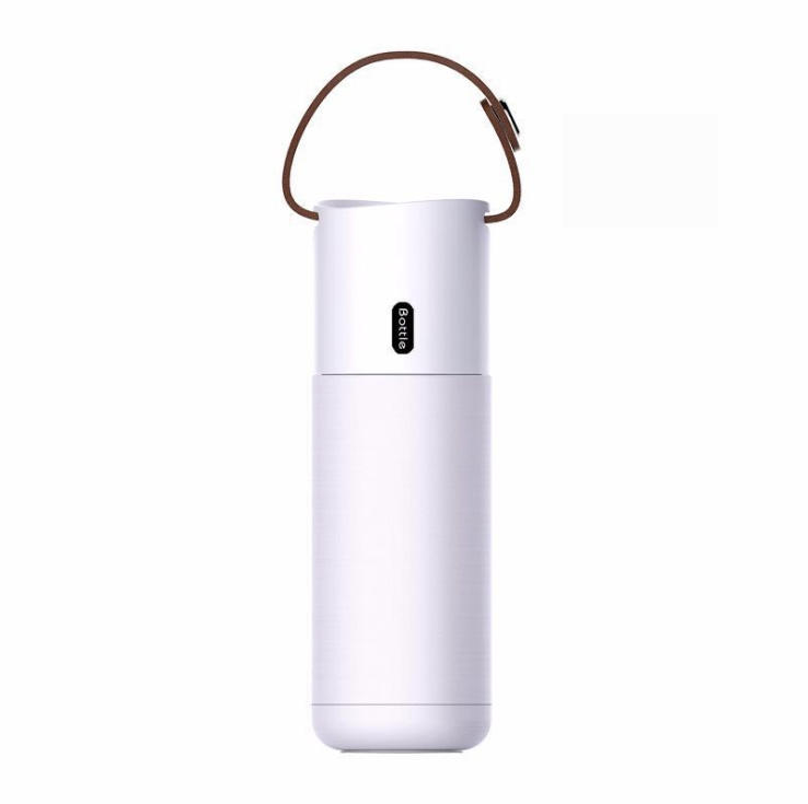 Wholesale BPA free stainless steel vacuum insulated travel coffee mug cup custom water bottle with leather handle