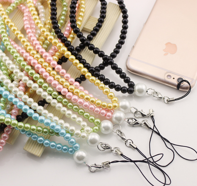 Fashion plastic pearl lanyard phone strap for id card holder lanyard for sale