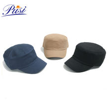 Fashion design  embroidery logo round cap cotton men plain military hat with names