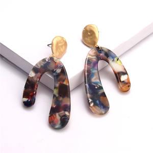 Custom minimalist jewelry tortoise shell cellulose acetate u shape earrings fashion Korean tortoise shell acrylic earring