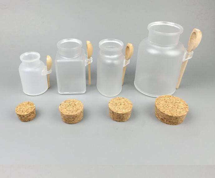 100g/200g/300ml/500ml empty plastic round square bath salt jar/bottle/container with wooden spoon and cork