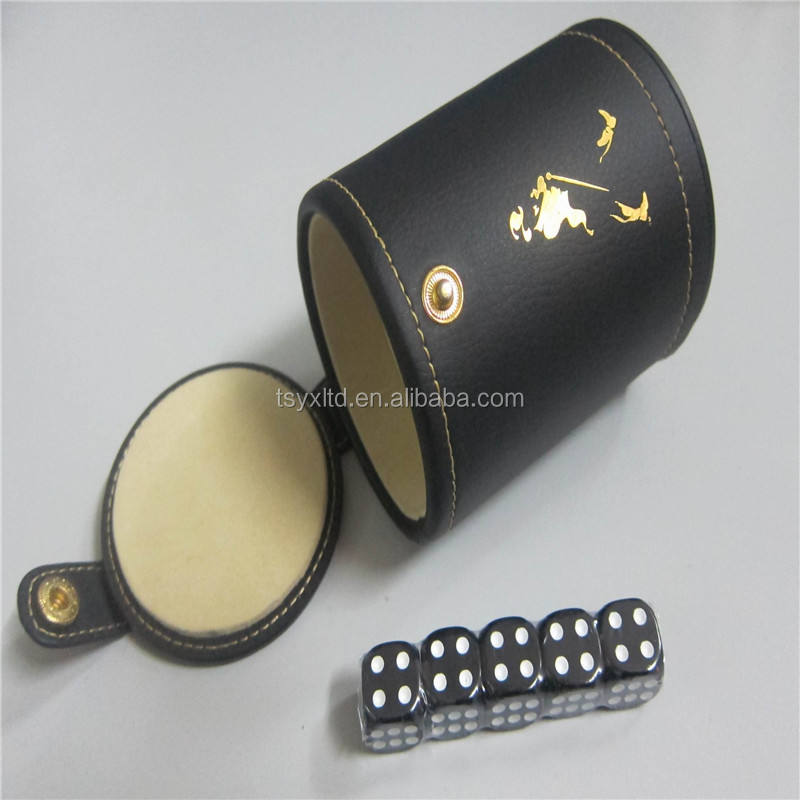 Plastic dice manufacturers custom PU leather dice cup with lid