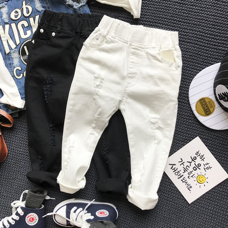 YY10292B Ripped design kids children stretch jeans black and white cotton trousers boy denim jeans wholesale
