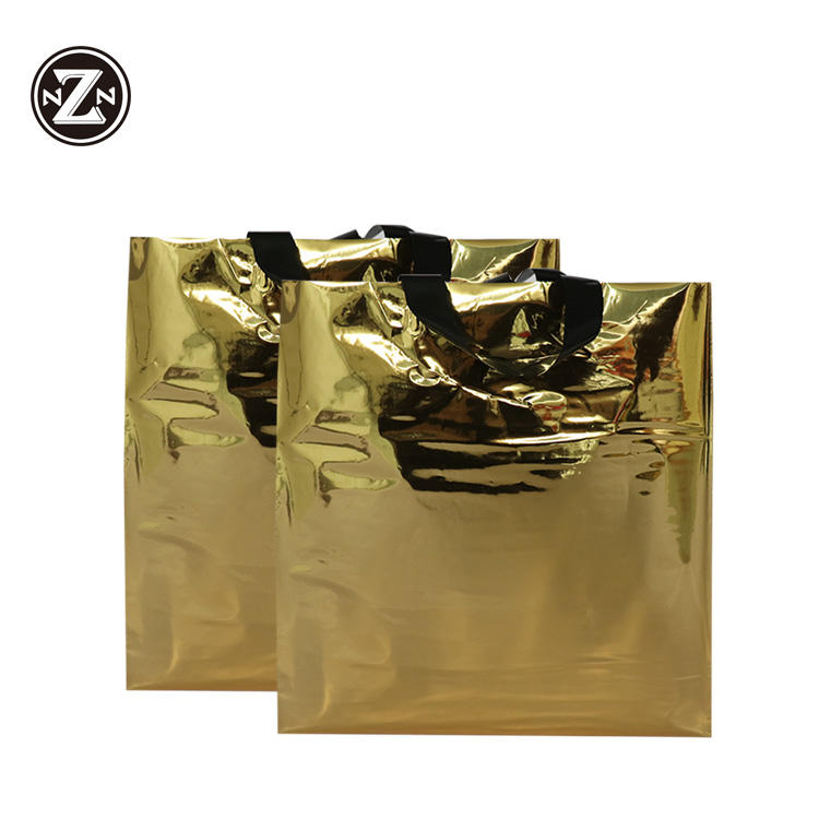 custom printed 100 biodegradable polythene gold carry gift patch handle plastic pe packaging shopping bags for clothing