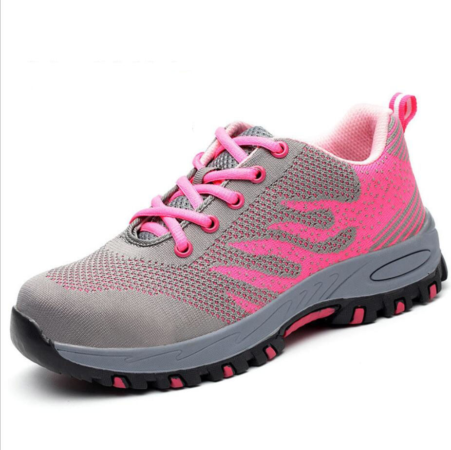 Summer permeable iron steel toe steel plate fly-knitting women safety hiking shoes FW-FZ0042
