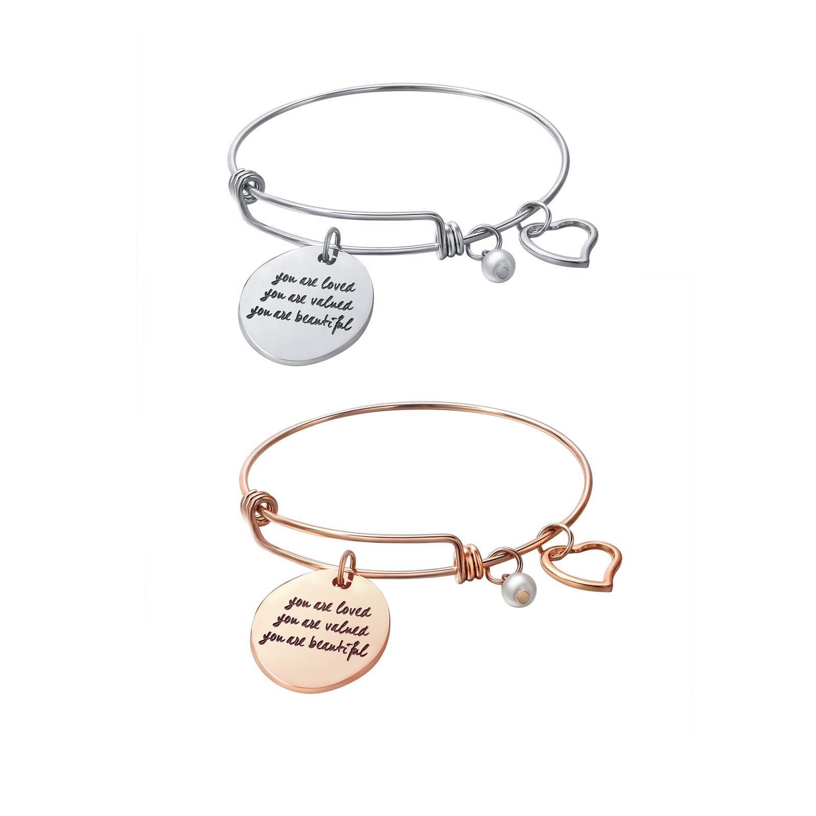 Loftily Jewelry you are loved, you are valued, you are beautiful Bangle Engrave Wholesale Stainless Steel Charm Cuff bracelets