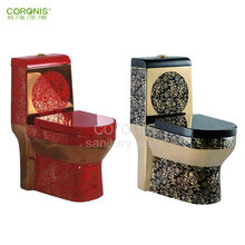 All sanitary items living room furniture luxury gold red colored ceramic toilet bowl