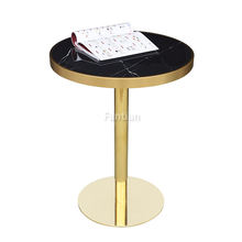 Stainless steel titanium gold edged black porcelain riprap stone top dining table set cafe use