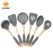 Silicon Kitchenware Wooden Handle Silicone Cooking Tool Kitchen Utensil Set