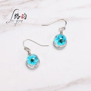 Luyun free shipping real dry flower handmade glass earring