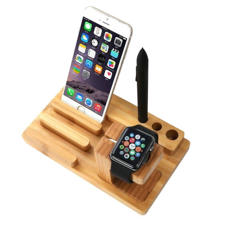 Dropshipping YM-UD06-1 3 in1 Bambus Holz Lade Dock Docking Station Halter Für iPad und Andere Smartphones