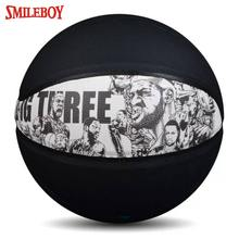 custom official size 7 black PU leather indoor outdoor basketball wholesale