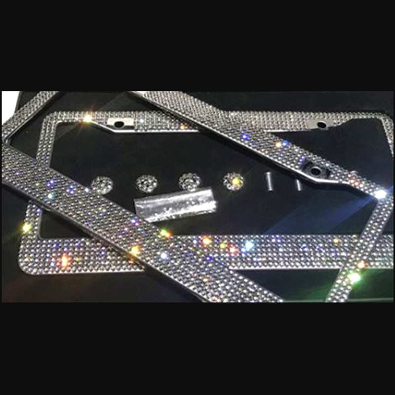 Luxury crystal car license plate frame