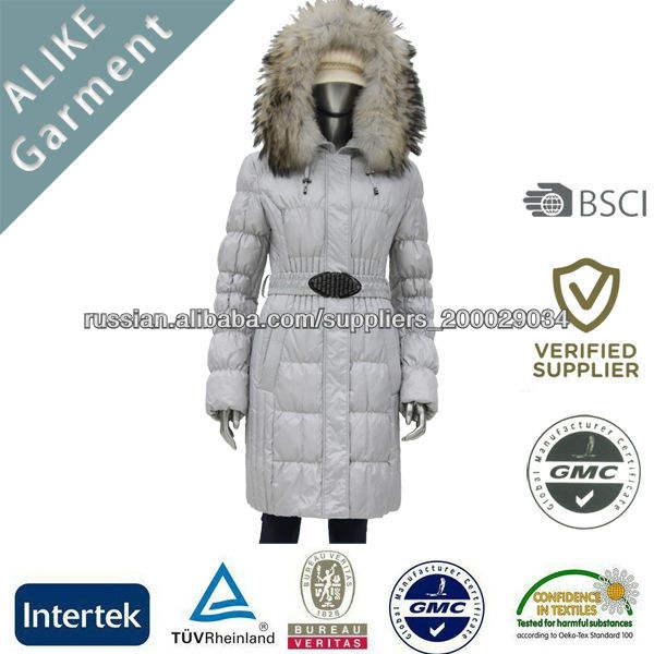 Белым пухом 2014 Дамская куртка с меховым воротником реальной