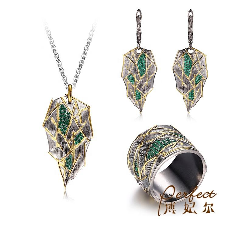 925 Sterling Silver Jewelry Irregular Leaf Shape Green Spinel Jewelry Sets For Party