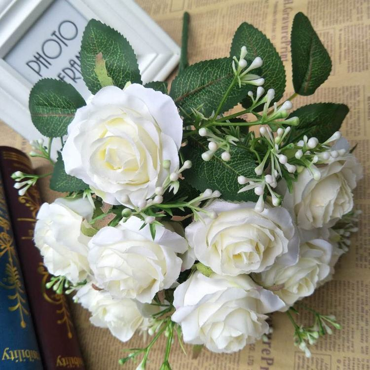 Wholesale Mini Hydrangea Ball Faux Flower Fresh Artificial Wedding Rose Flower For Wedding Wall Stage Decoration