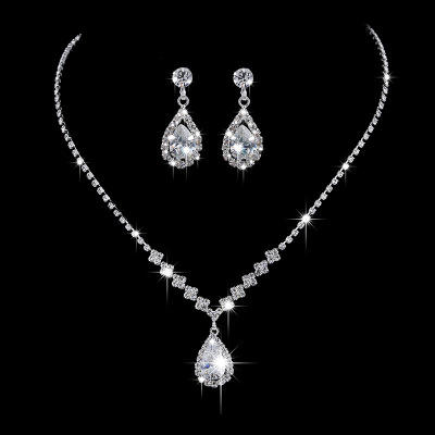 Simple Crystal Cubic Zircon Stone Necklace and Earrings Bride Wedding Jewelry Set