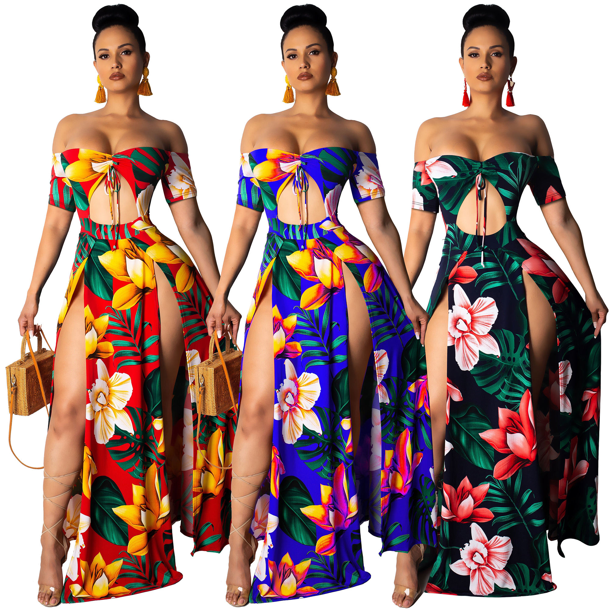 Z1008 Sexy floral printed off shoulder high slit maxi dress women summer 2020