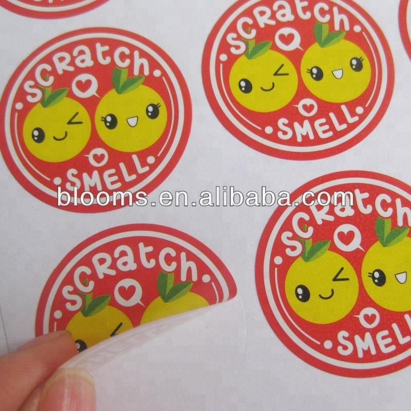 Paper adhesive orange smell sticker scratch and sniff