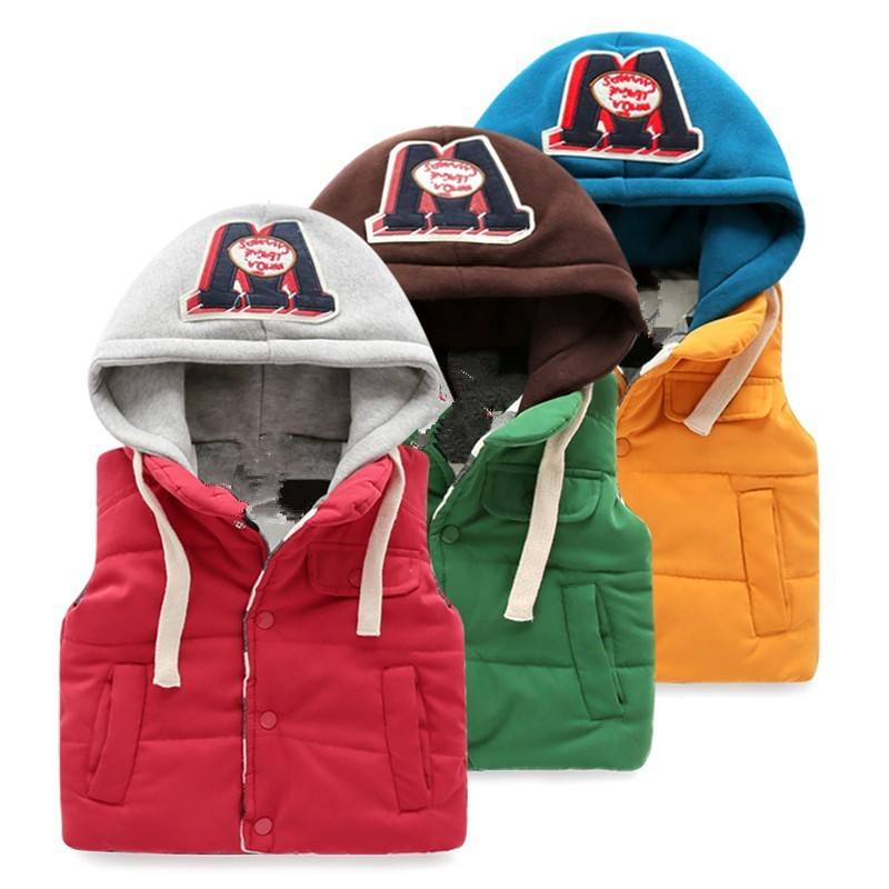 Online Shopping Kid Boys Customized Thicken Cotton Outdoor Jackets Vest With Hood